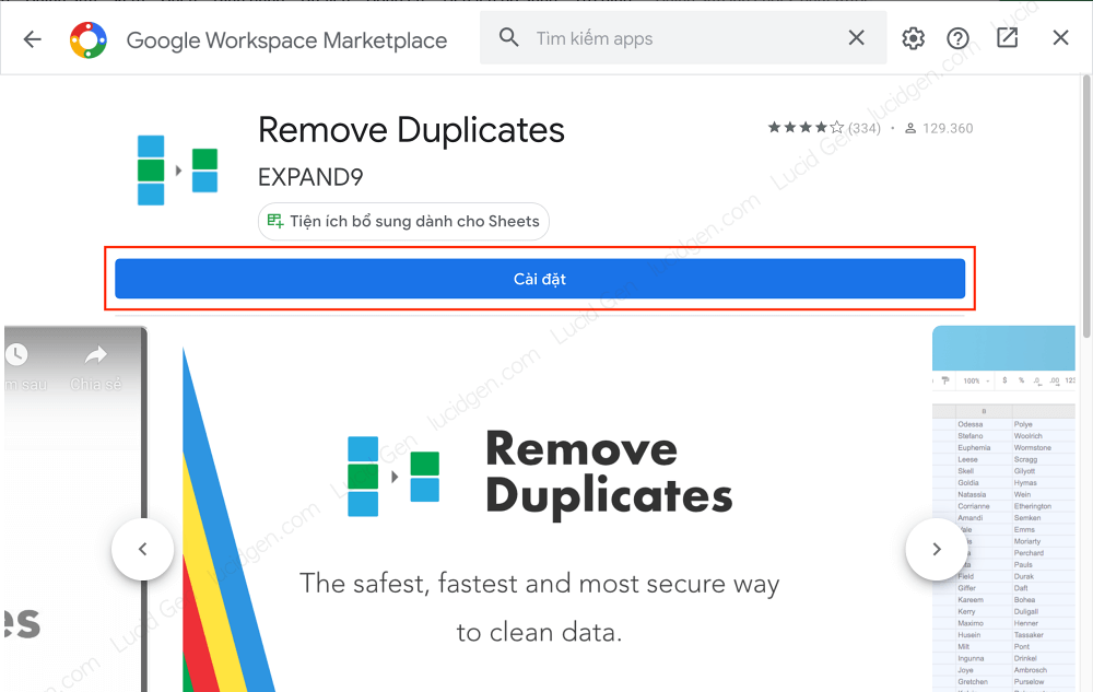 Install find duplicate in Google Sheets extension
