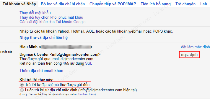 Select the added domain email as the default for sending messages