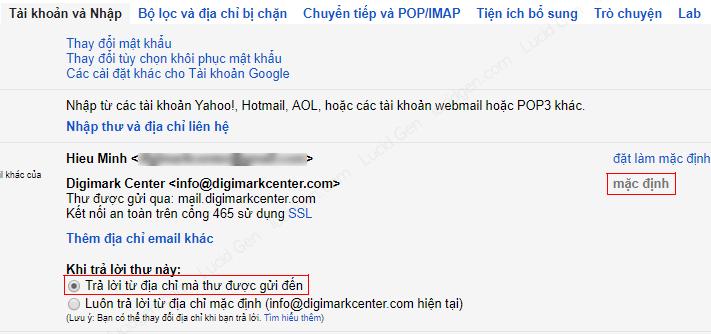 Chọn email tên miền đã thêm vào làm mặc định để gửi thư