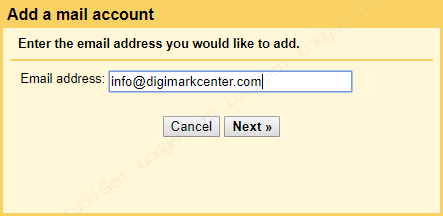 Fill in the created domain email
