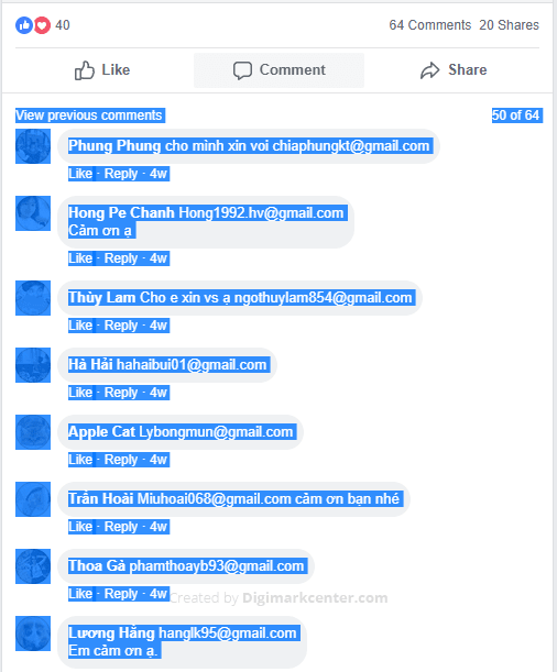 Copy the entire Facebook comments section that contains the email