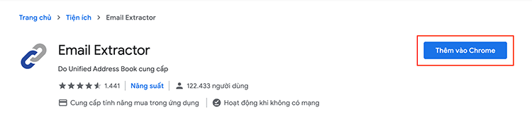 Add Extract email from Facebook extension to Chrome
