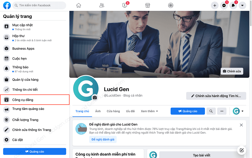 Open the post tool in the left menu of the new Facebook