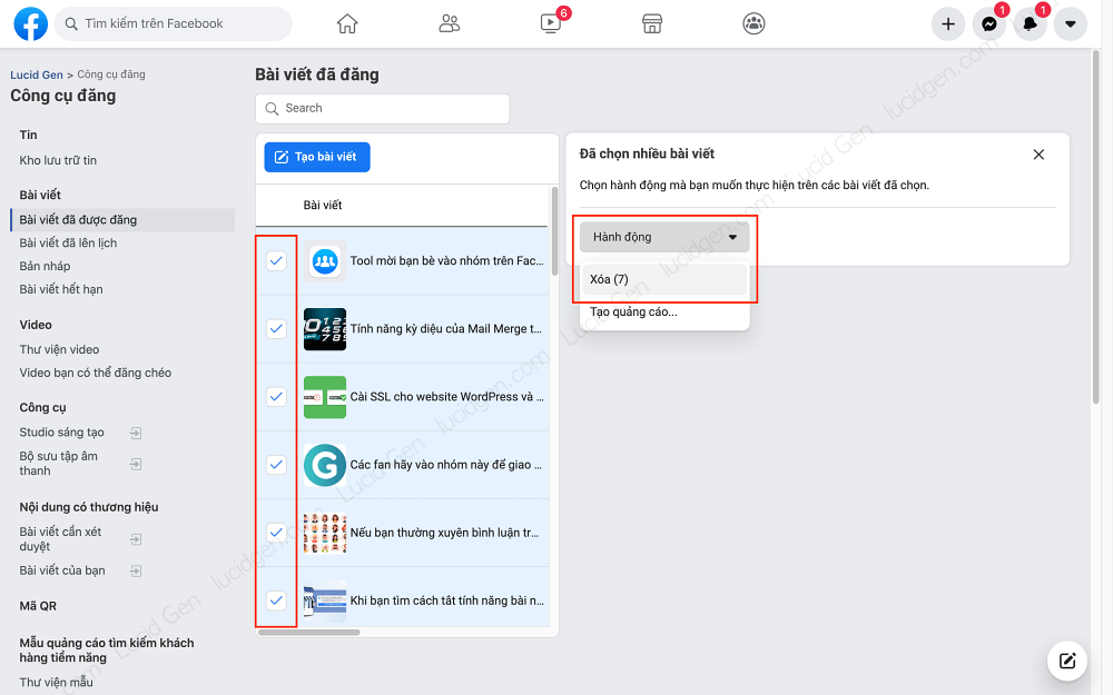 Delete Facebook page posts in bulk   - Select and Delete Facebook page posts