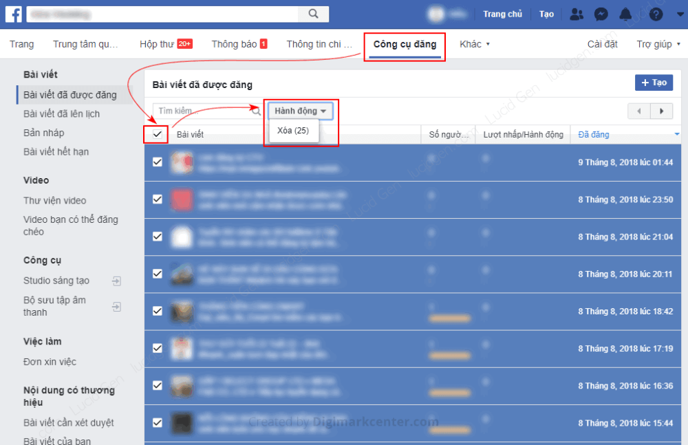 Delete Facebook page posts in bulk with posting tool
