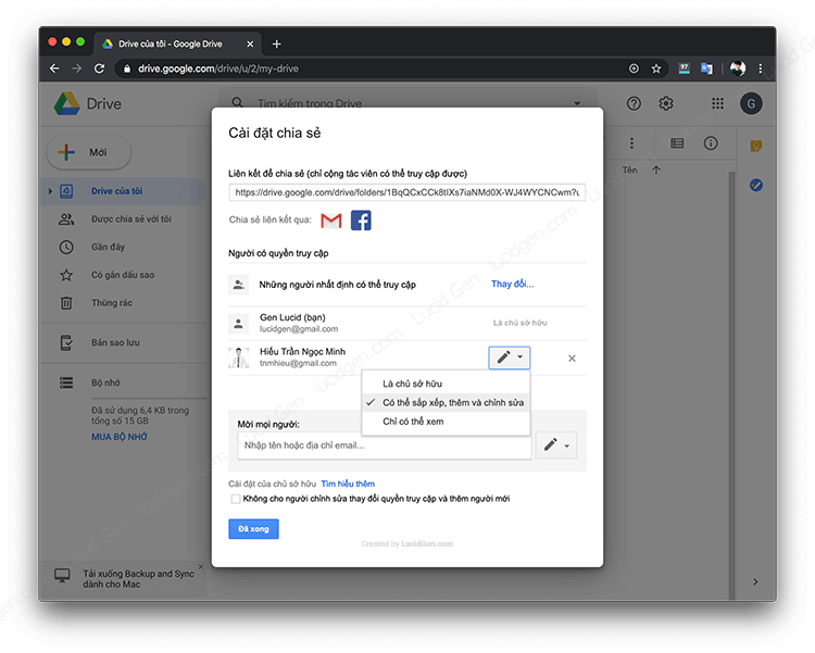 That permission can be corrected by clicking the button next to their name (google drive instructions and how to share Google Drive files)