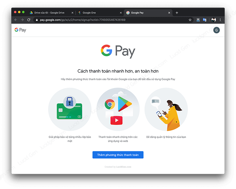 To add a payment method to a Google account