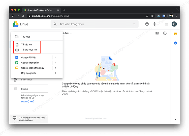 There are 2 options for uploading to Google Drive