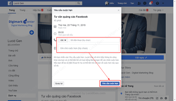 How to make appointment on Facebook page