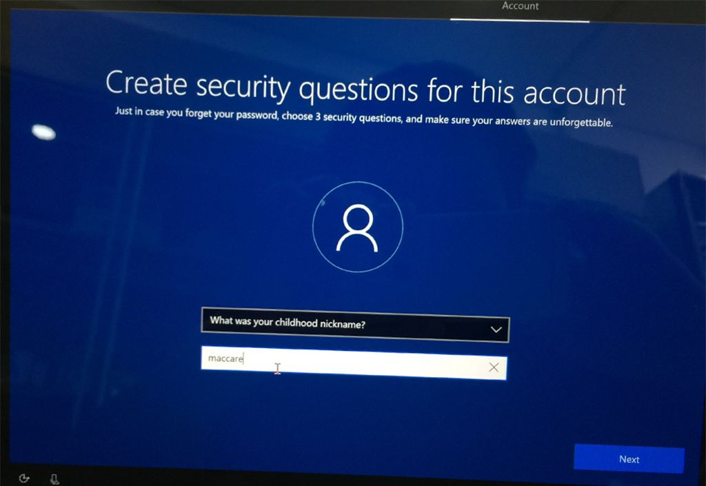 Select a security question and fill out the answer request
