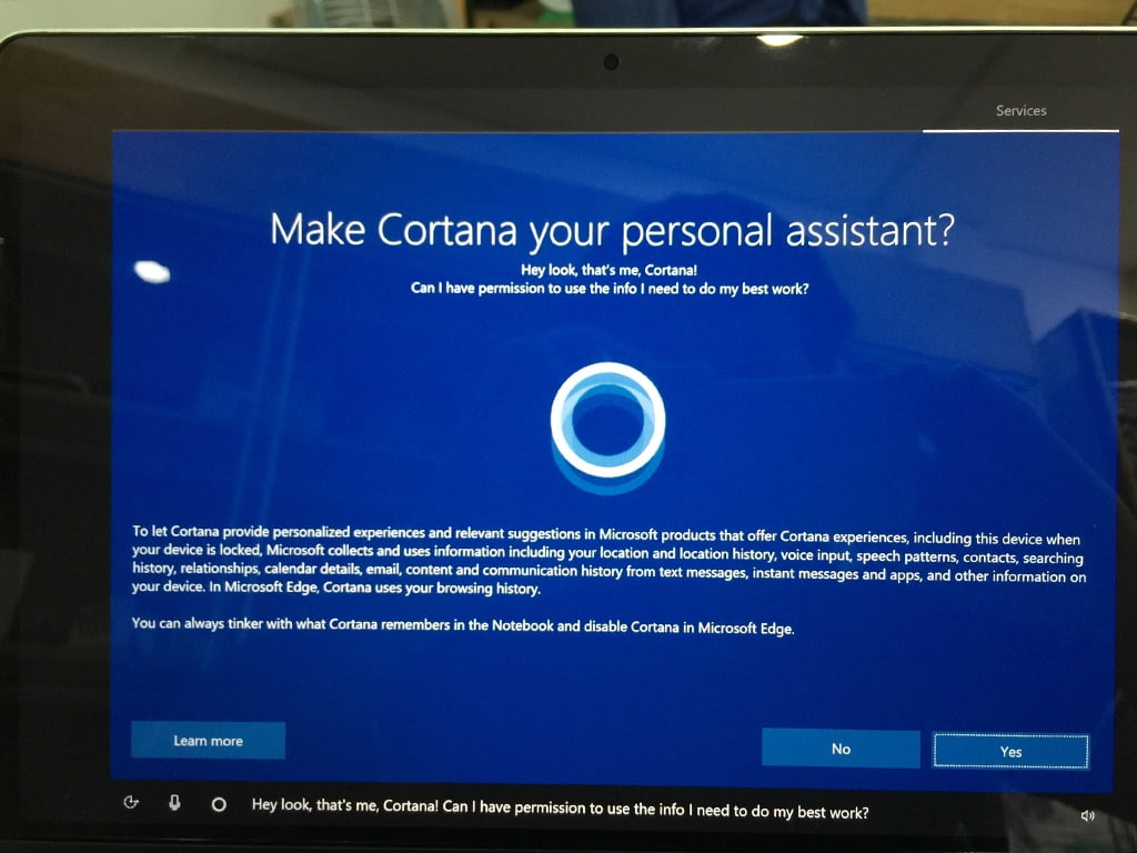 No should be clicked so Cortana doesn't run in the underground
