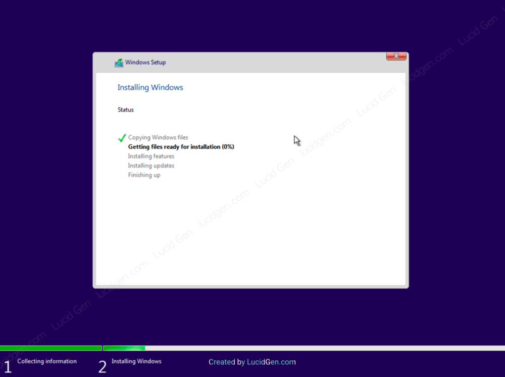 Wait for the Windows installer to complete itself