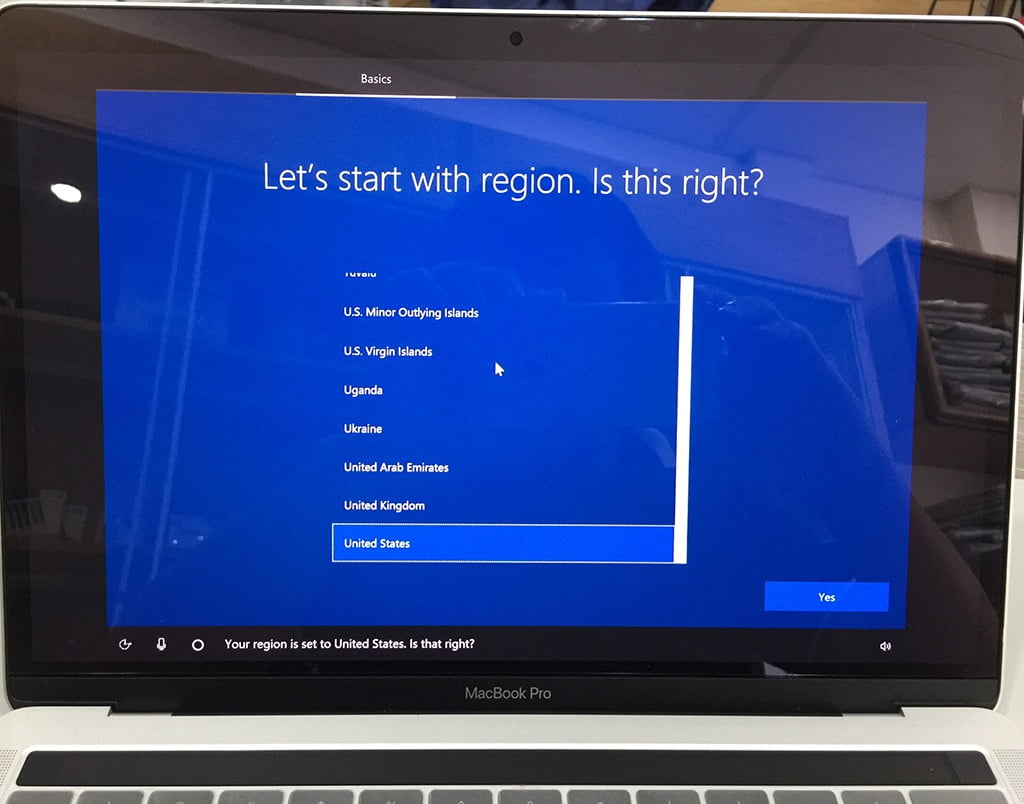 Install Win 10 for Macbook Pro and Air. Select region as United States or Vietnam