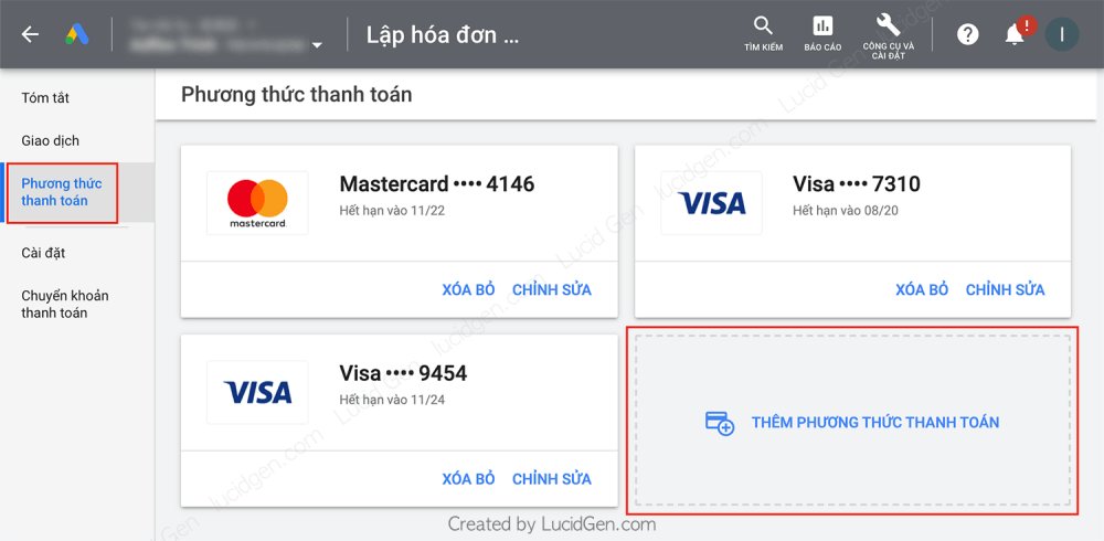 Add a Google Ads payment method using a Visa Master Card and MoMo e-wallet - Select Payment Method > tap Add new payment method