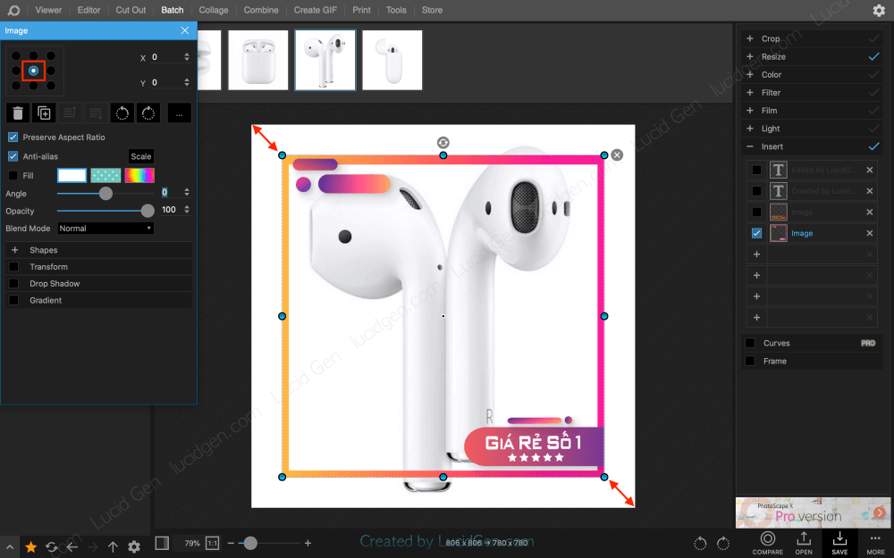 Drag the corners of the Shopee photo frame for them to close the border of the product image