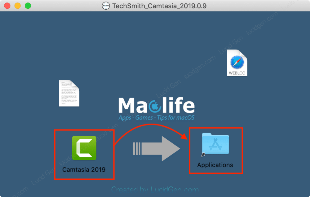 Open the Camtasia installation file on your Macbook and drag and drop the Camtasia icon into the Applications folder