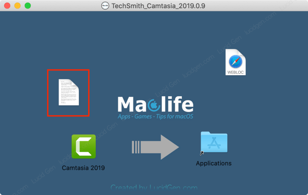 Open the note file to get the Camtasia activation code on your Macbook