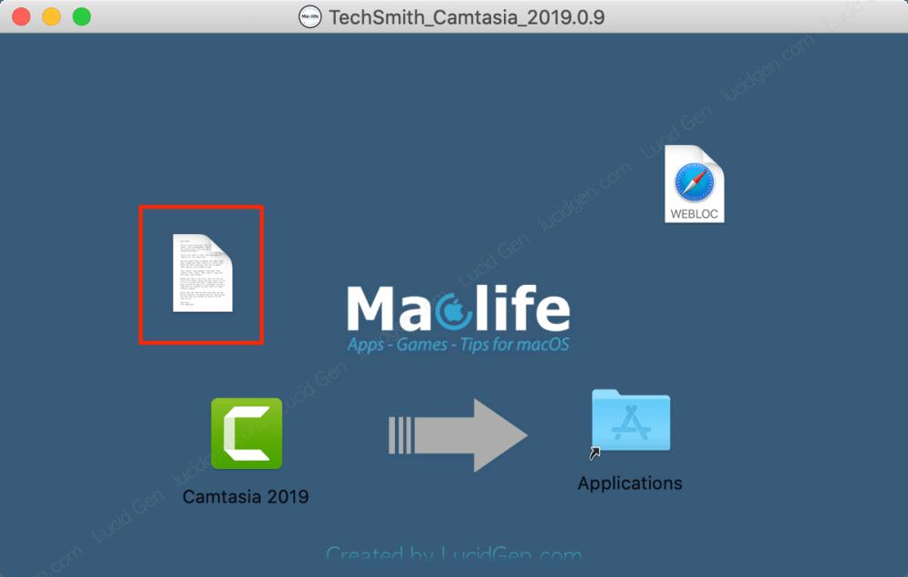 Mở file note để lấy mã kích hoạt Camtasia trên Macbook