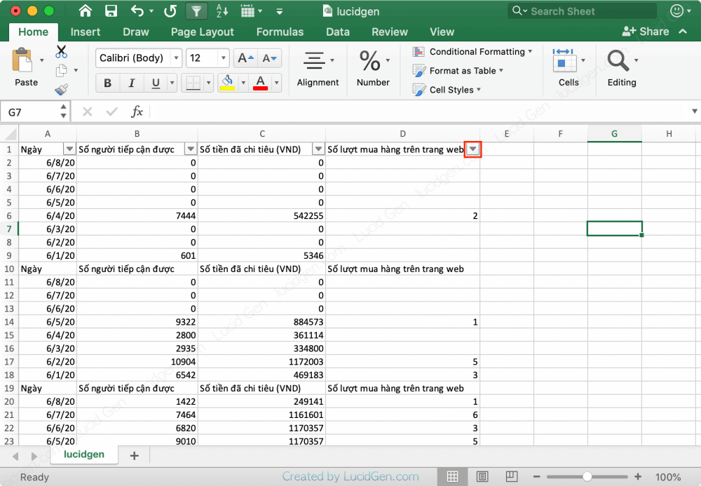 """Select the column and then Filter it (Data ></noscript> Filter)"""" class=""""wp-image-8752″/><figcaption>Select the column and then Filter it (Data > Filter)</figcaption></figure></div>    <p>The Filter window appears, you filter out the redundant headlines, and then drag the batch to the number batch, right-click it, and delete it.</p>    <div class="""