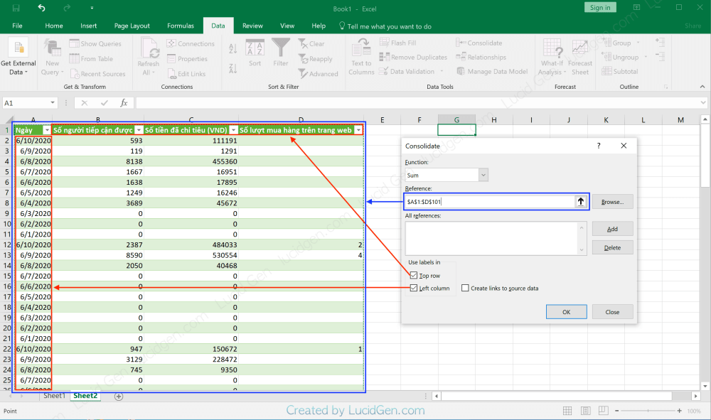 Select 2 lable cells and drag the data container selection