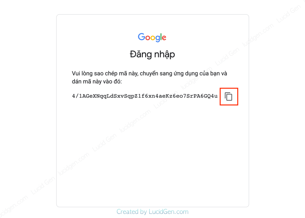 Copy a Google Ads account sign-in code