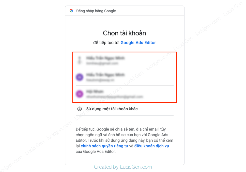 Choose the right Gmail of your Google Ads account