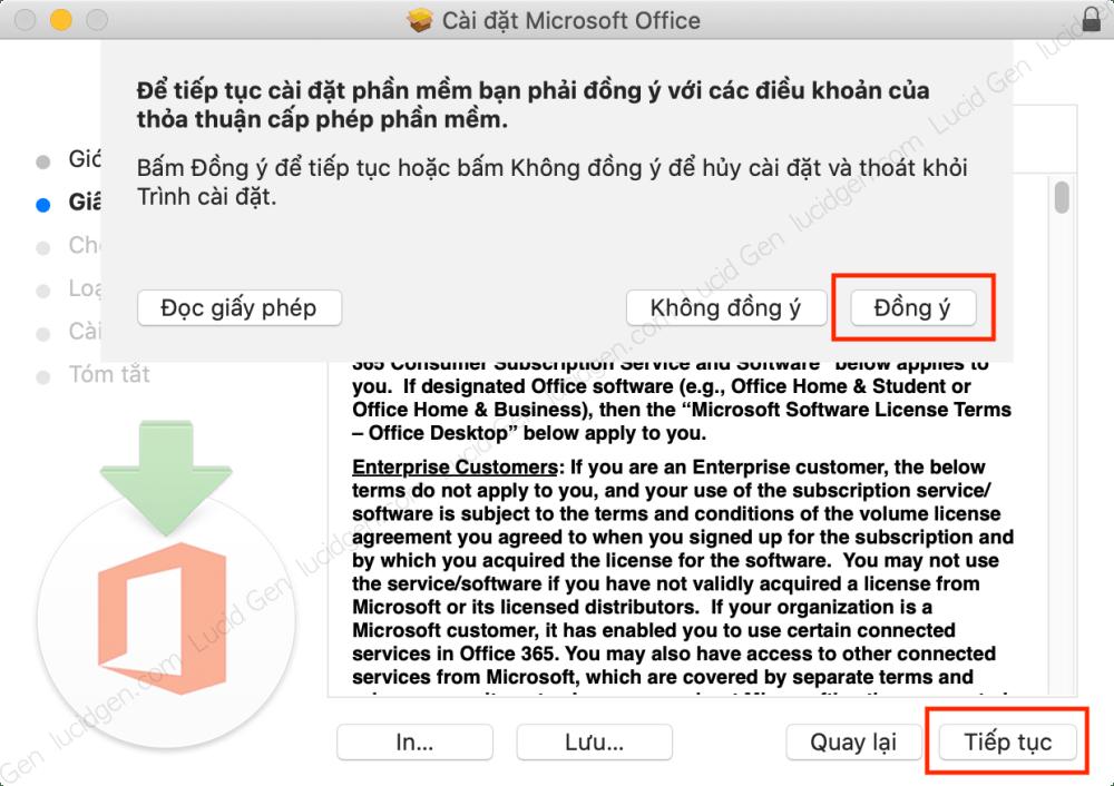 Đồng ý điều khoản cài đặt Offce trên Mac