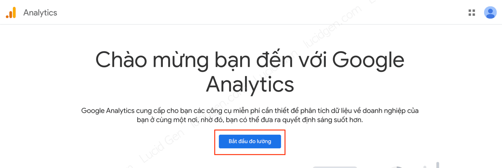 How to add Google Analytics to website - Go to Google Analytics page and click Get Started