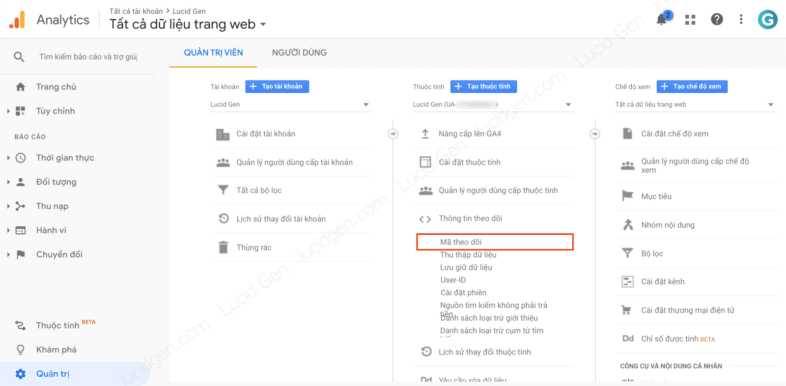 How to add Google Analytics to website Universal - Click Tracking Code in the properties section