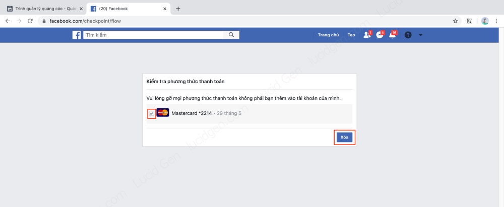 Choose and remove credit card from Facebook Ads account