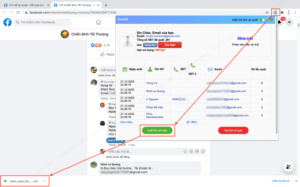 How to extract email from Facebook group and comment - View scanned email history and download Excel files