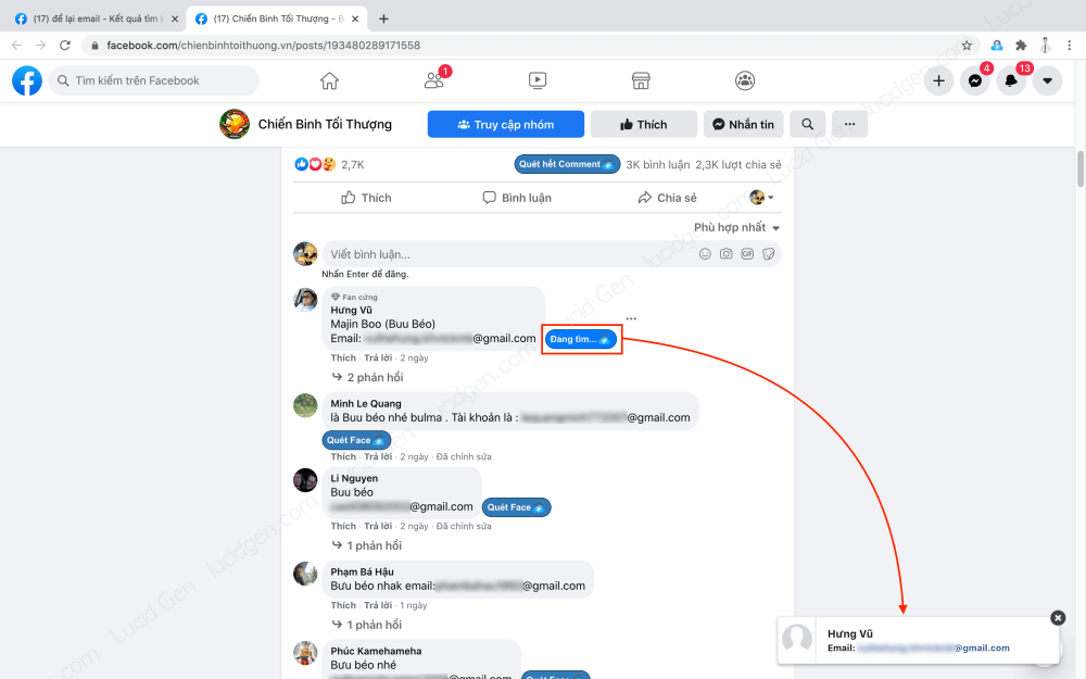 How to extract email from Facebook group and comment - Scan a comment's email