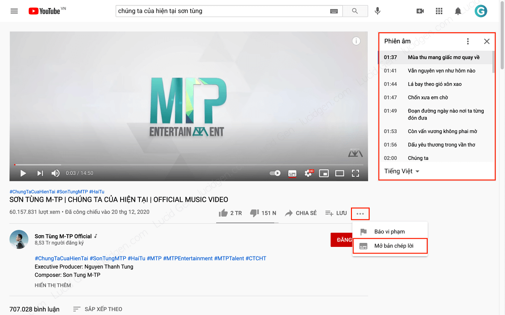 Choose to open Open transcript to get video subtitles