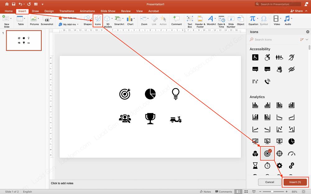 Cách chèn icon vào PowerPoint mặc định