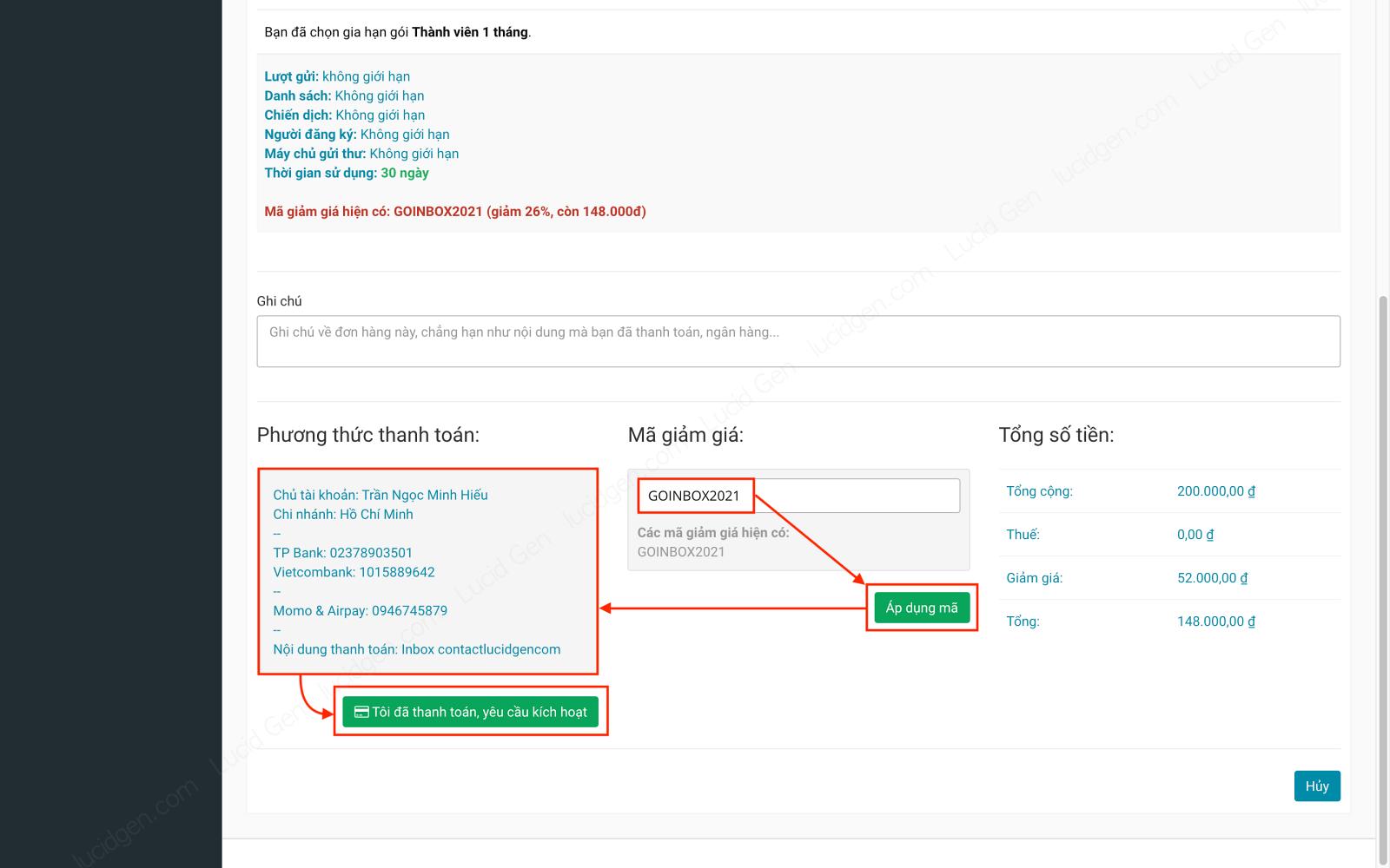 Phần mềm email marketing - Gửi mail hàng loạt vào hộp thư chính - Áp dụng mã giảm giá > Chuyển khoản theo hướng dẫn > Nhấp vào nút Tôi đã thanh toán, yêu cầu kích hoạt