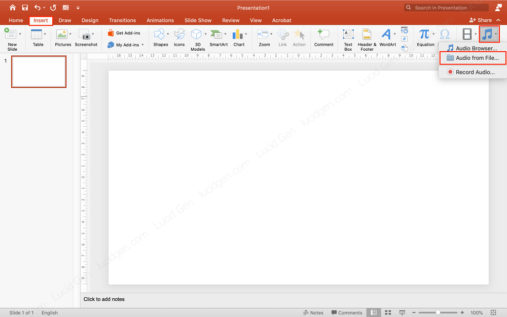 Go to Insert and Audio to insert music to PowerPoint