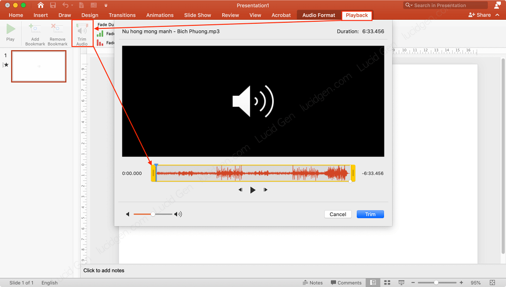 After inserting music to PowerPoint, you can trim it in Trim Audio