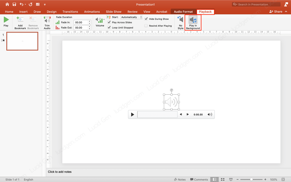 How to insert music to PowerPoint - Turn on Play in Background to let the music play in the background