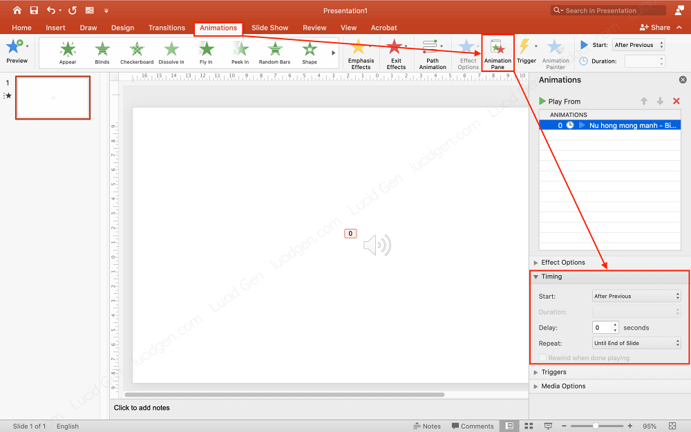 How to insert music to PowerPoint - Adjust the way music is played manually in PowerPoint