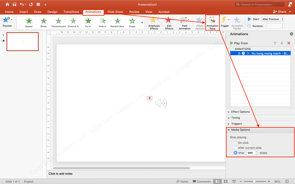 How to insert music to PowerPoint - Adjust the way the music stops in PowerPoint