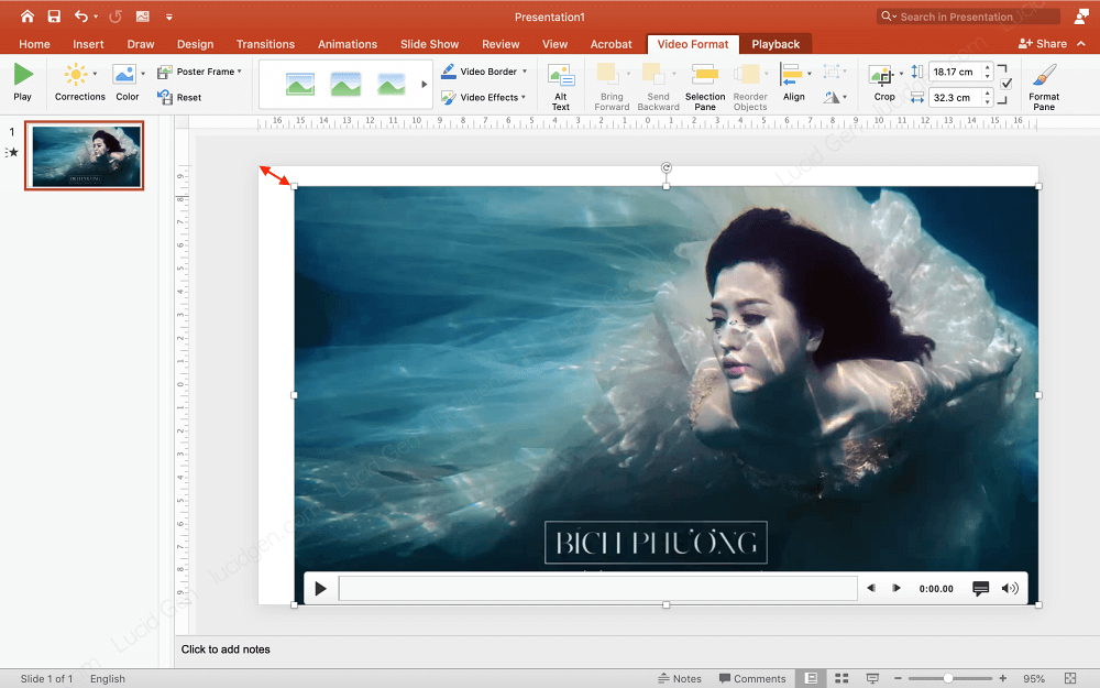 Resize after inserting video to PowerPoint