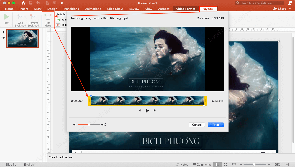 After inserting the video to PowerPoint, you can trim the excess