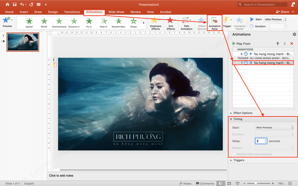 Adjust the pause for the inserted video in PowerPoint
