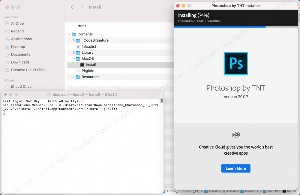 Wait for the Adobe on Mac installation to complete, then close all windows