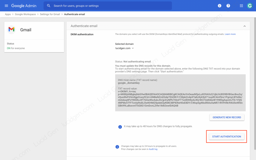 How to set up DKIM Google Workspace - Click the Start Authentication button to authenticate DKIM on the domain name