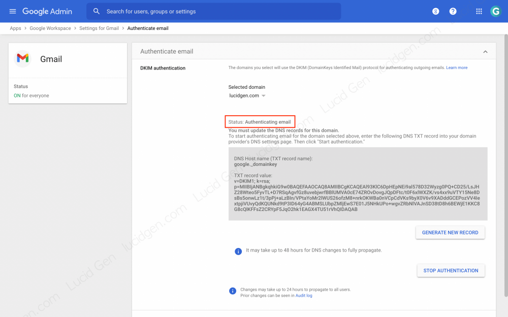 How to set up DKIM Google Workspace - Status: Authencating email means you have successfully authenticated
