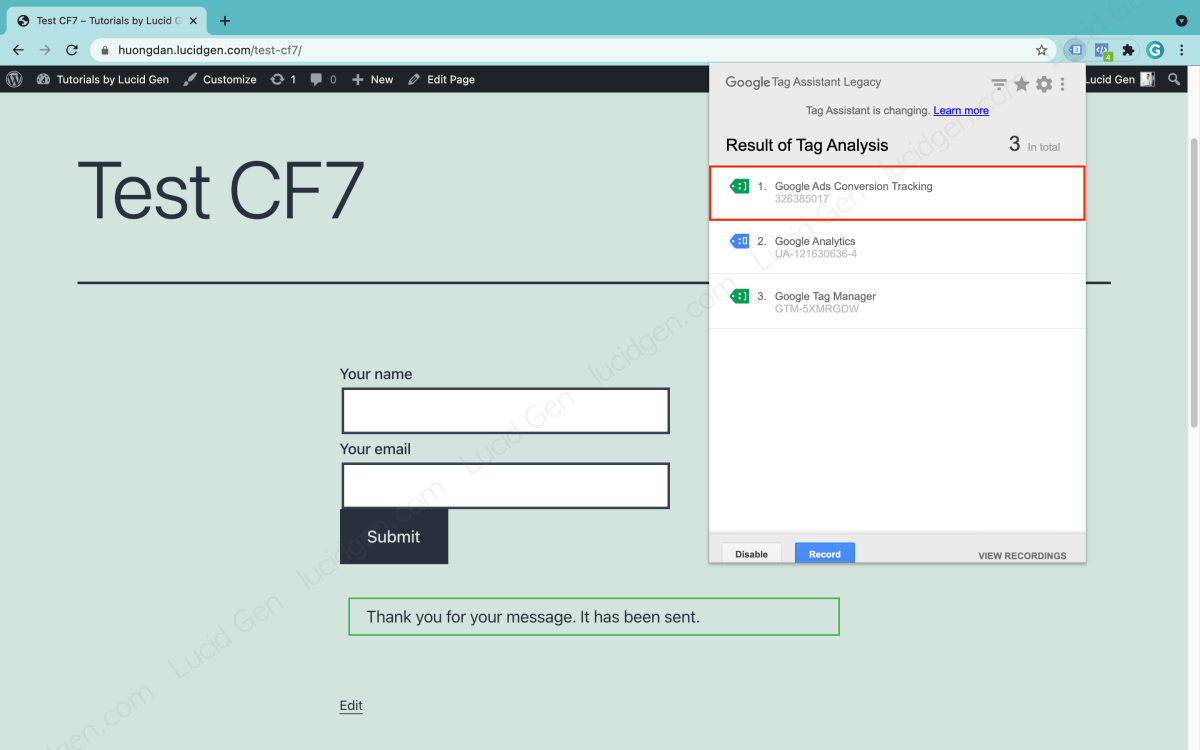 Check Google Ads Contact Form 7 tracking