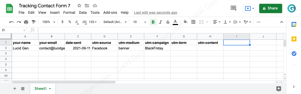 Submit UTM Contact Form 7 source to Google Sheets