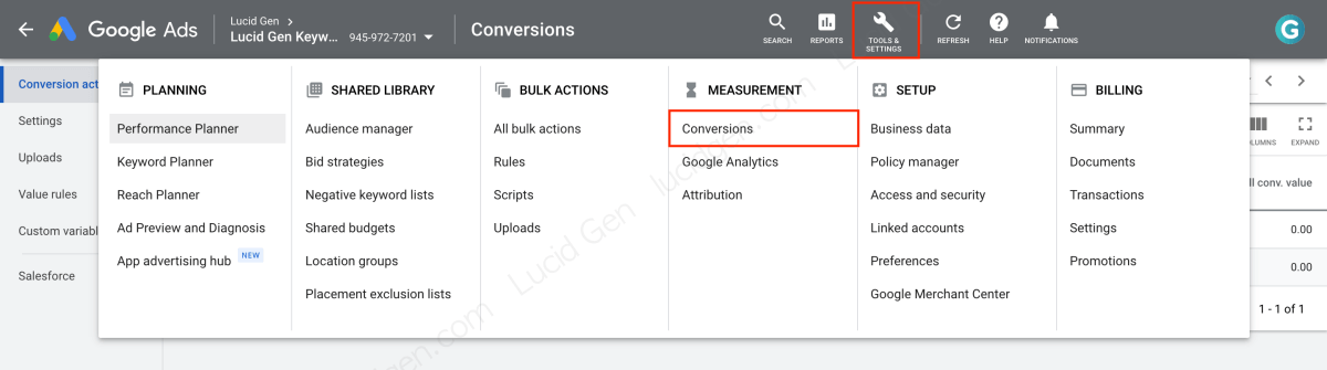 Go to conversion management in Google Ads