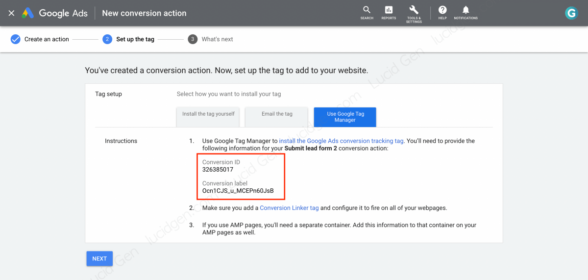 Copy Conversion ID and Conversion Label to track Contact Form 7 in Google Ads